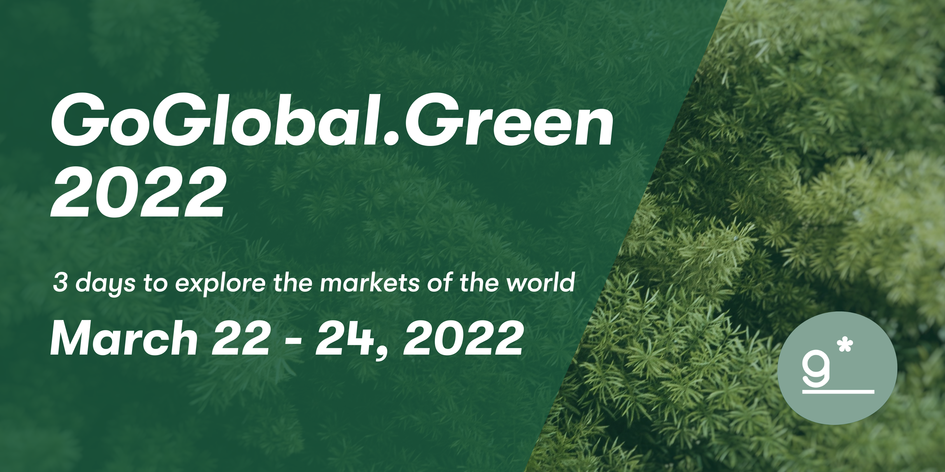 Banner to promote the GoGlobal.Green Conference in 2022.